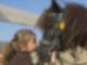 Ein kleines Mädchen küsst ein Pferd auf die Nase.