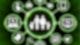 Eine Grafik zeigt zwei große und zwei kleine Figuren die sich an den Händen halten, vor einem grünen Hintergrund.Umrandet sind die von einem Kreis in neongrün. Vom Kreis leiten acht neongrüne Striche zu weiteren kleineren Kreisen mit weißen Symbolen.