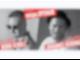 Die Grafik zu einer Veranstaltung mit zwei männlichen Personen, ist in der Mitte schräg geteilt. In weißer Schrift auf rotem Grund stehen weitere Informationen zu der Veranstaltung auf der Grafik.