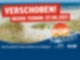Im Hintergrund einer Grafik ist ein Meer, im Vordergrund Dünen und Dünengras. Ein roter Banner mit der Aufschrift verschoben neuer Termin 7 August 2021 zieht sich von links oben nach fast ganz rechts.