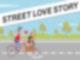 Eine Comicfigur fährt auf einem Fahrrad mit einer anderen Figur vor sich in einem großen Fahrradkorb auf einer Bundesstraße entlang.