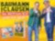 Zwei Männer stehen auf der rechten Seite vor einem gelben Hintergrund der Kamera zugewandt. Der linke von beiden zeigt in die Kamera, der rechte formt mit den Händen ein Herz.