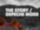 Vor grauem Hintergrund stehen orangene Lautsprecher und der schwebende Schriftzug The Story / Depeche Mode.