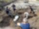 Mehrere Personen versammeln sich um eine Sandkuhle und graben nach Fundstücken.