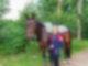 Jaqueline Lux steht vor einem Pferd zum Voltigieren.